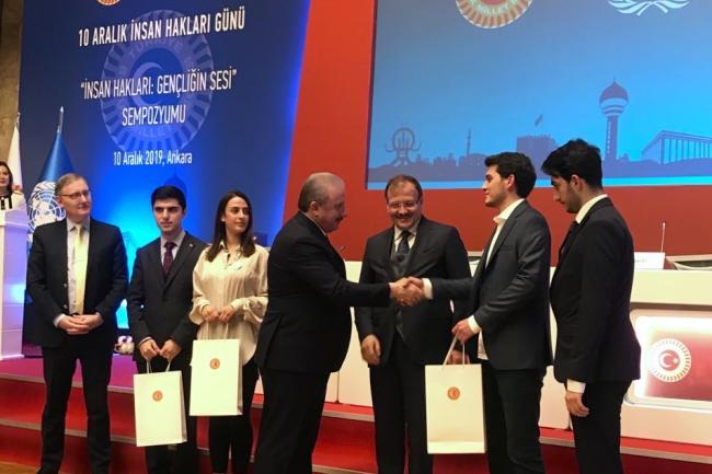 Voices of Youth Panel at the Turkish Grand National Assembly. UN Turkey OIC Alvaro Rodriguez on the left. Photo: UNIC Ankara