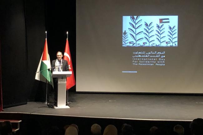 UNOIC delivers his speech at the International Day of Solidarity with the Palestinian People event in Ankara