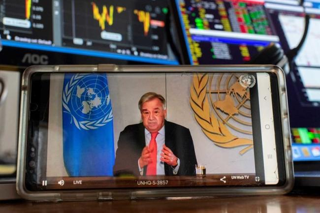 Guterres briefs the media on the socio-economic impacts of the COVID-19 pandemic